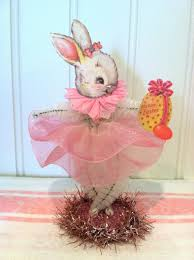 chenille easter vintage style bump chenille easter bunny figure by artzeeshell