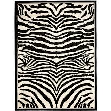 shop safavieh lyndhurst zebra white black indoor animals area rug