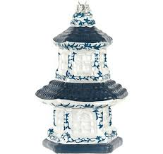 large blue and white pagoda ornament style 1