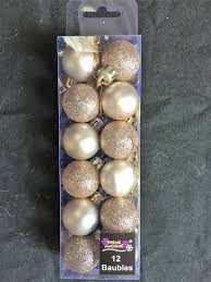 12 x chagne gold tree baubles decorations small