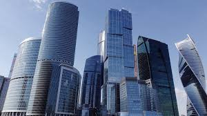 block modern tall skyscrapers called moscow city long slide