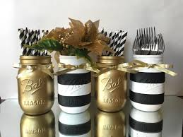 set of 4 painted black and white striped mason jars and gold