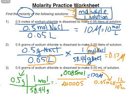 molarity practice worksheet 1 3 science chemistry solutions