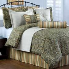 park place sage green brown traditional paisley bedding comforter