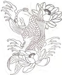 koi fish and lotus tattoo sketch photos pictures and sketches
