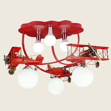 Airplane Ceiling Light 6 Light Airplane Shaped Painting Modern Bedroom Ceiling Light Semi