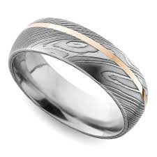 damascus steel wedding band offset inlay domed men s wedding ring in damascus steel