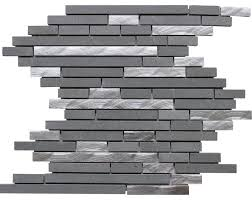 X Artic Fog Ash Gray And Silver Aluminum Mosaic - Gray backsplash tile