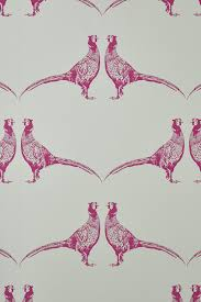 handprinted pink pheasant wallpaper from barneby gates decorating