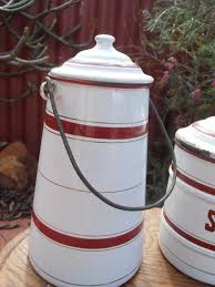 vintage french belgium burgundy u0026 white enamel kitchen canister
