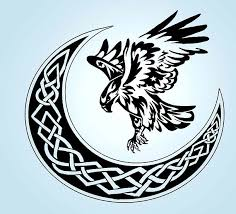 and celtic moon tattoo design