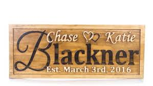 buy a handmade personalized family name sign wedding gift custom