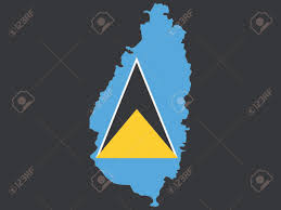 St Lucia Map Map Of St Lucia And St Lucian Flag Illustration Royalty Free