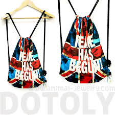 Flag Backpack British Flag Peace Has Begun Typography Print Drawstring Backpack