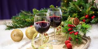 photos christmas two wine food balls stemware branches holidays