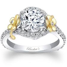 detailed engagement rings barkev s 14k white yellow gold flower halo engagement ring