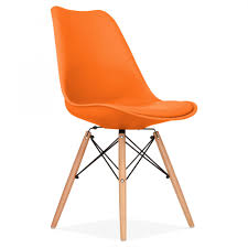 Tan Faux Leather Dining Chairs Orange Soft Pad Dining Chair With Dsw Style Wood Legs Kitchen