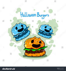 funny cute burger halloween flying ghost stock vector 717254977