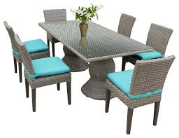 Patio Dining Table Harmony Outdoor Dining Table With Armless Chairs 7 Piece Set