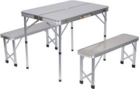Portable Folding Picnic Table Portable Aluminum Folding Picnic Table With 2 Folding Bench Seats