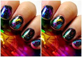mani monday rainbow nail foil mani chocolate u0026 lipstick
