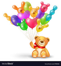 teddy bears in balloons teddy with a bunch of balloons vector image