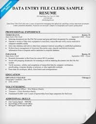 Clerical Resume Examples by Data Entry File Clerk Resume Sample Resumecompanion Com Resume
