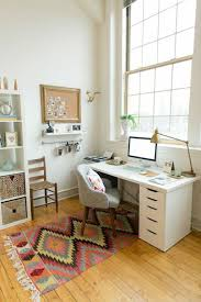 study room with study table and colorful area rug arrange
