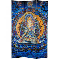 Canvas Room Divider 6 Ft Tall Radiant Tara Tibetan Double Sided Canvas Room Divider