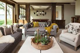 Bronze Table Ls For Living Room Brown Chairs Gray Sofa Family Room Traditional With Martha O Hara