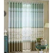 Blue Green Curtains Light Blue Green Cotton Linen Blend Fabric Geometric Pattern