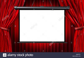 Curtains Show Show Screen In A Cinema Or Theater Scene With Open Red Velvet