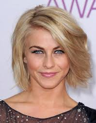 julia hough new haircut short voluminous bob hairstyle with side swept bangs julianne