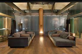 astounding basement home theater decoration with velvet brown sofa