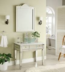 Bathroom Vanities With Vessel Sinks Adelina 36 Inch Mirrored Vessel Sink Bathroom Vanity White Marble