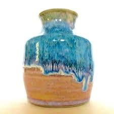 Studio Pottery Vase Studio Pottery Drip Glaze Pot Vase Signed S Kress Sky Blue Beige