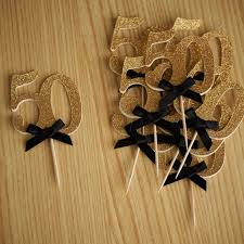 50th birthday decorations custom number antique gold glitter 50th birthday cupcake toppers
