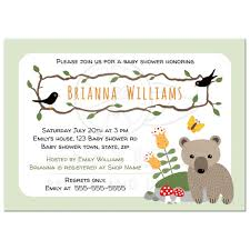 woodland baby shower invitation with bear cub mushrooms and flowers