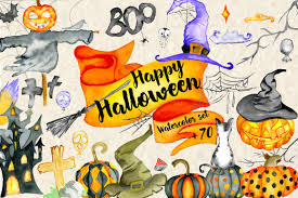 happy halloween image happy halloween watercolor bundle illustrations creative market