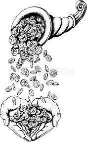 hand drawn vector sketch illustration of cornucopia rain money