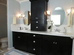 bathroom vanity shelf ideas black wood modern double sink