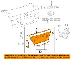 lexus accessories license plate lexus toyota oem es350 trunk lid license plate bracket pocket