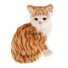 realistic sitting white yellow cat plush faux fur kitten ornament