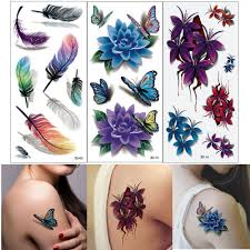 waterproof temporary tattoos 3d butterfly flower halloween fake