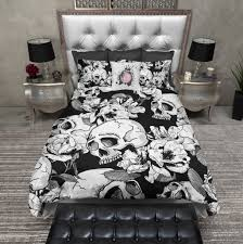 Sexy Bed Set by Black And White Sexy Flower Skull Duvet Bedding Sets Sexy Black