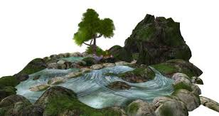 second life marketplace pond scene with cave and campfire for