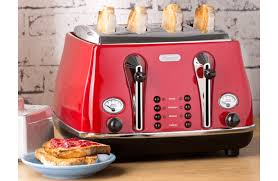 Delonghi Cto4003r Icona 4 Slice Red Toaster At The Good Guys