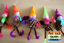 pink and green mama homemade christmas crafts pine cone elves