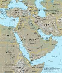 Eastern World Map by Middle East Topographical Reference Map