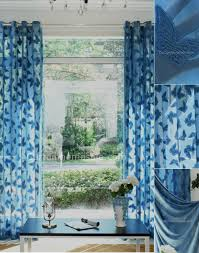 Patterned Sheer Curtains Butterfly Patterned Sheer Curtain In Blue Color